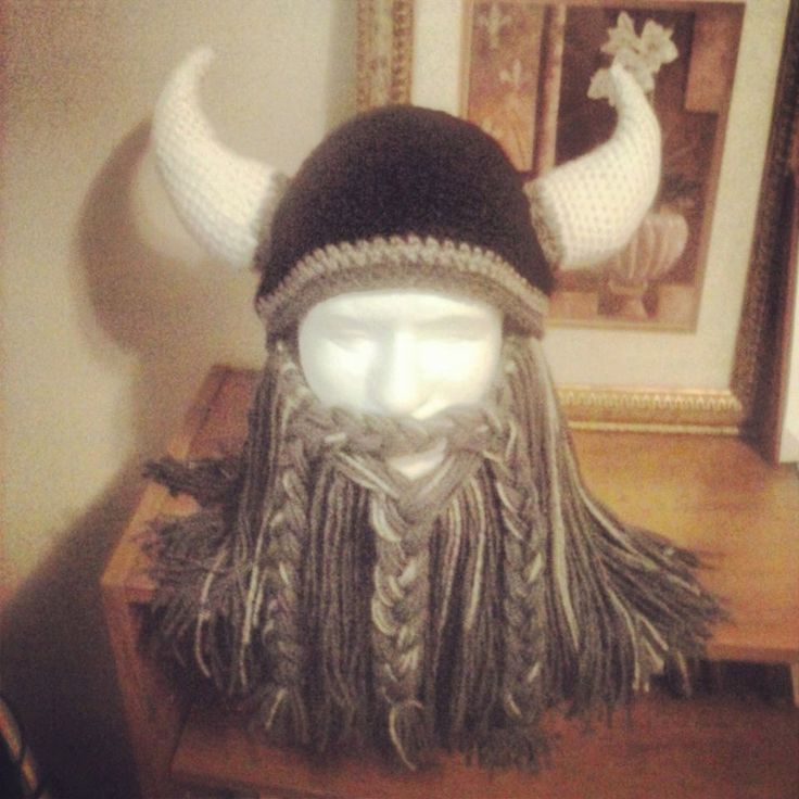Crochet Bearded Viking Helmet by WitchWithAHook on Etsy