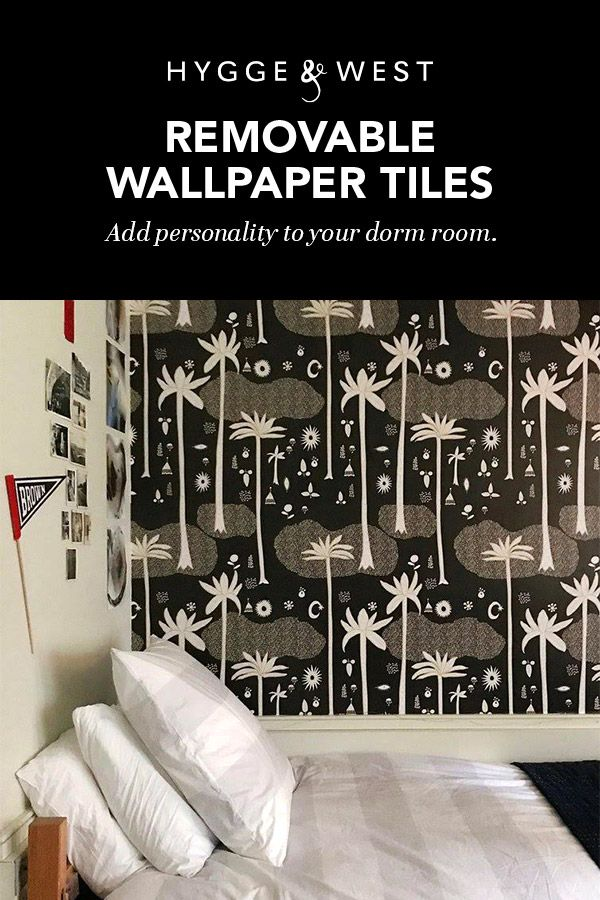 We Love This College Dorm Room Transformation Using Our Cosmic Desert Black Removable Wallpaper Tile Removable Wallpaper Luxury Dorm Room Wallpaper And Tiles
