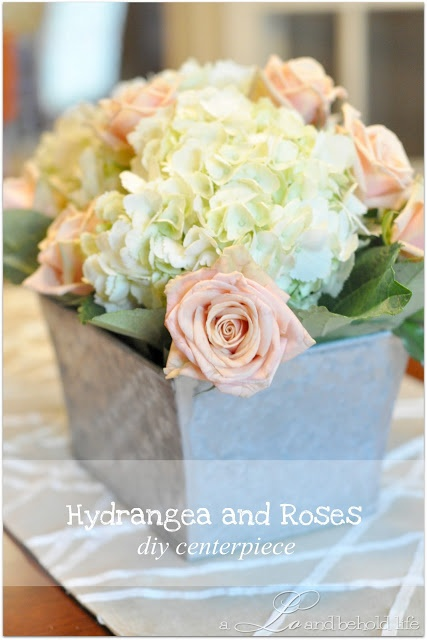 Hydrangea and Rose DIY Centerpiece. Gorgeous! Do this with silk flowers?