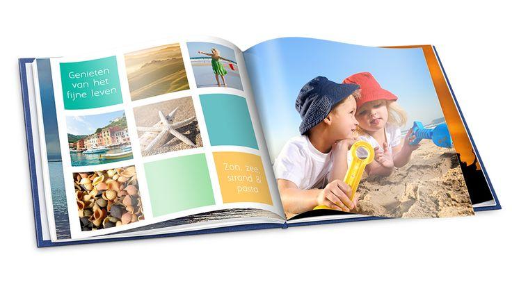 Combineer foto's, gekleurde vlakken en tekst in je fotoalbum voor een kleurrijke uitstraling. #fotoalbum #inspiratie #tip