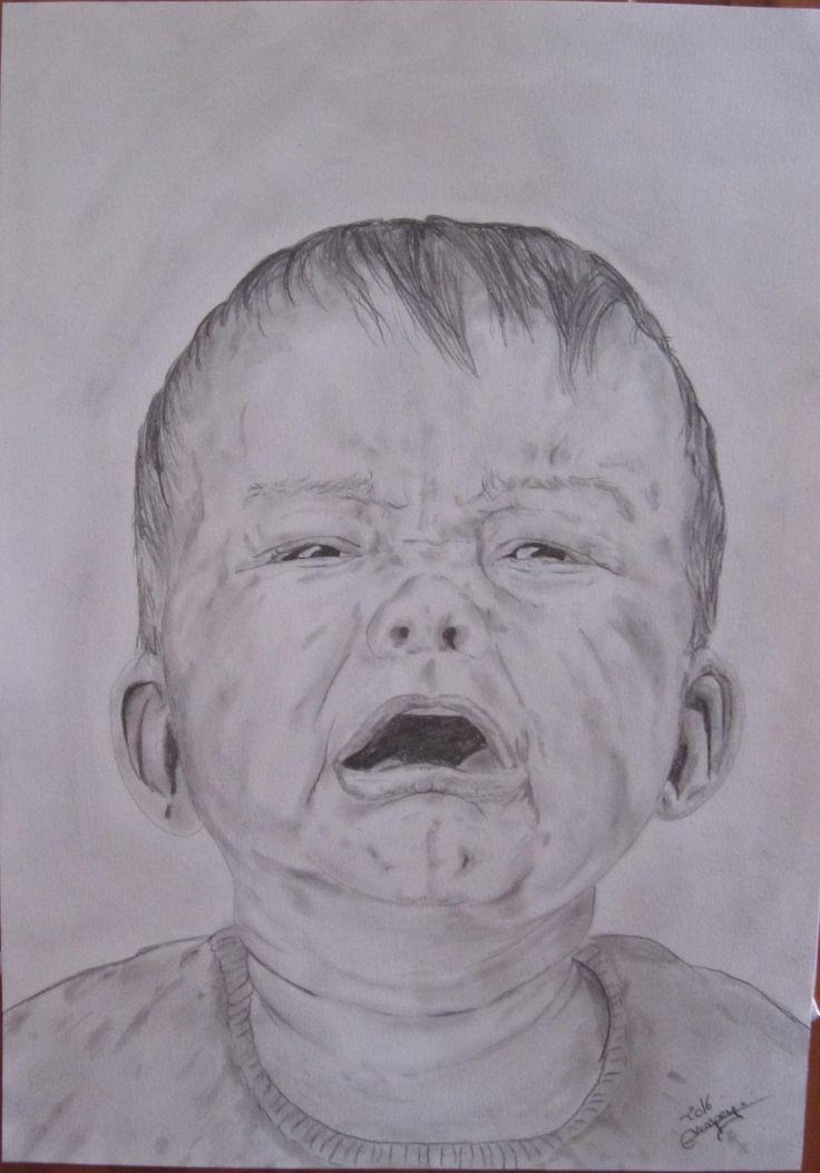 dessin original crayon bebe qui pleure crying baby portrait fine art A3 de la boutique vanspeygalleryart sur Etsy