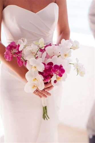 mykonos wedding, bridal bouquet with orchids phalaenopsis