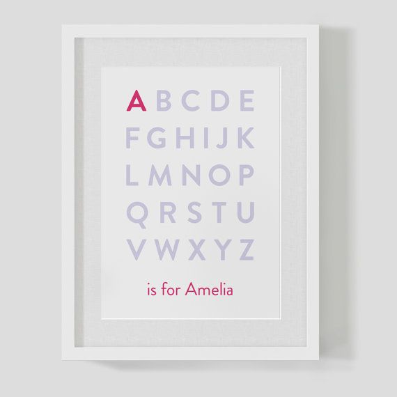 Personalised baby / children's alphabet name / initial / monogram / letter birth kid's nursery print / poster 'is for' £8.75  https://www.etsy.com/uk/listing/162577020/personalised-baby-childrens-alphabet?ref=listing-shop-header-3