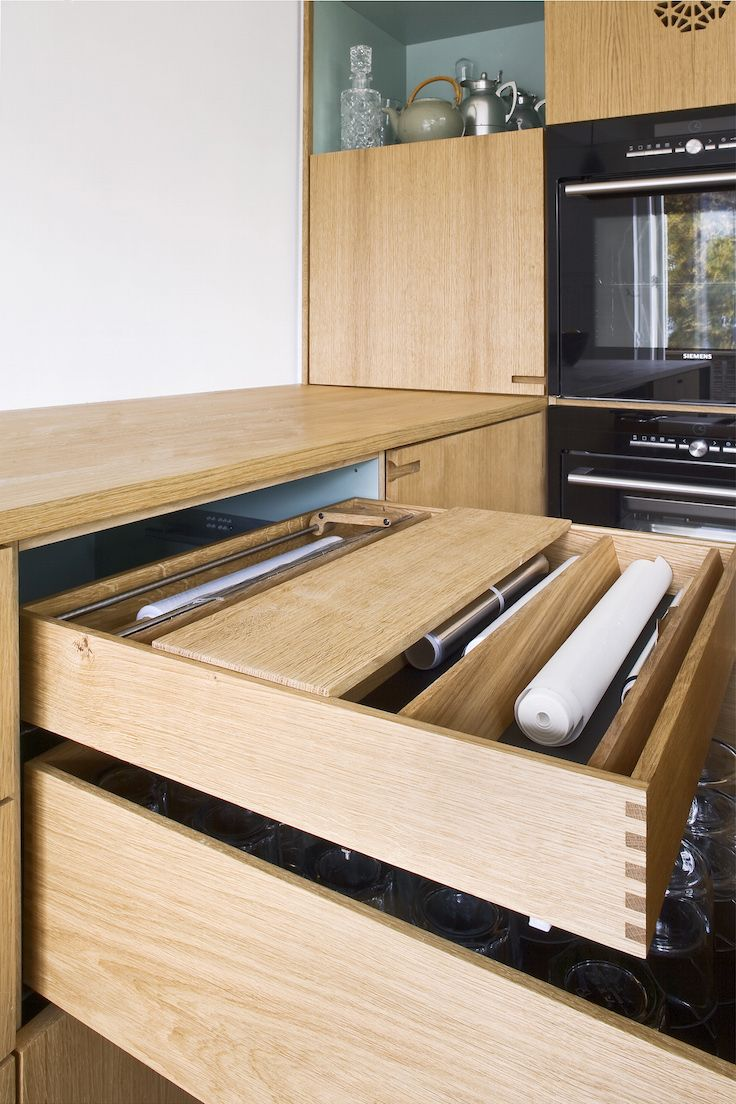 Handmade Kitchen: These drawers are finger-jointed and cross-assembled with a integrated aluminum foil tray and other essential household elements – everything entirely in solid oak.