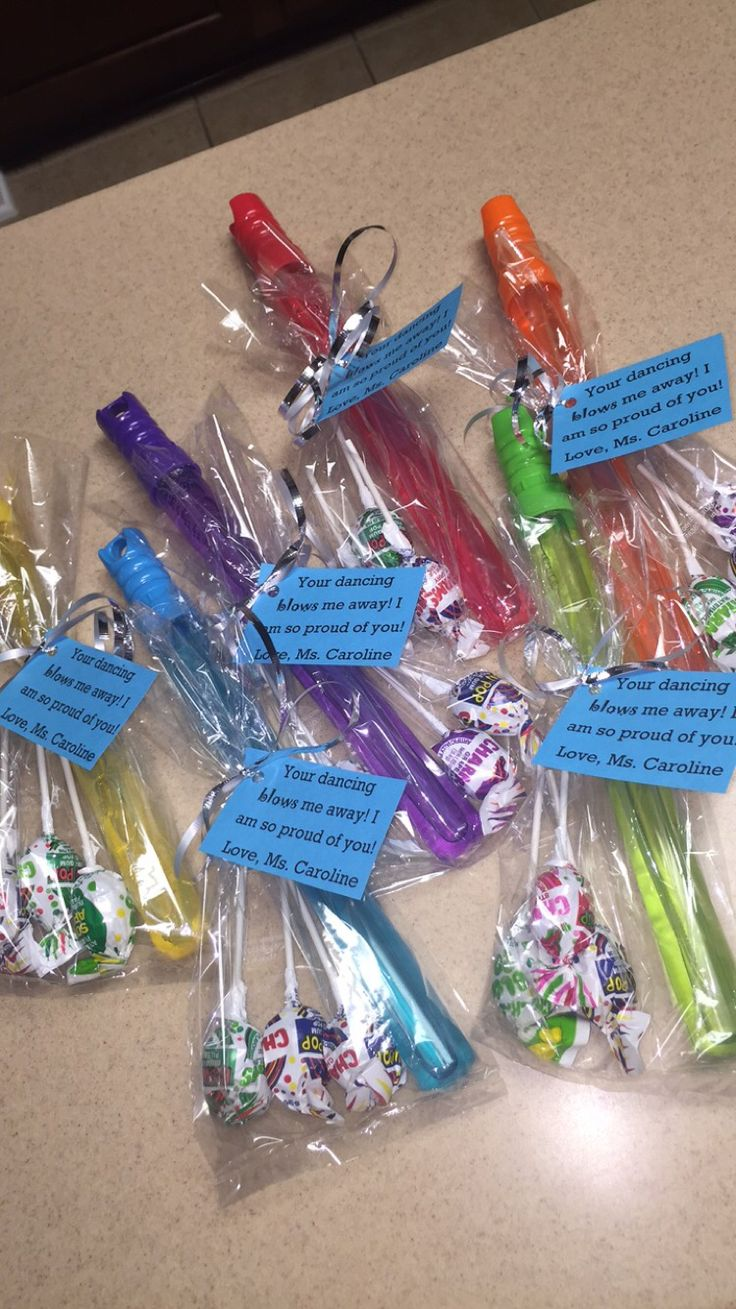 """Your dancing blows me away"" bubbles and blow pops goodie bags for end of the year dance gift!"