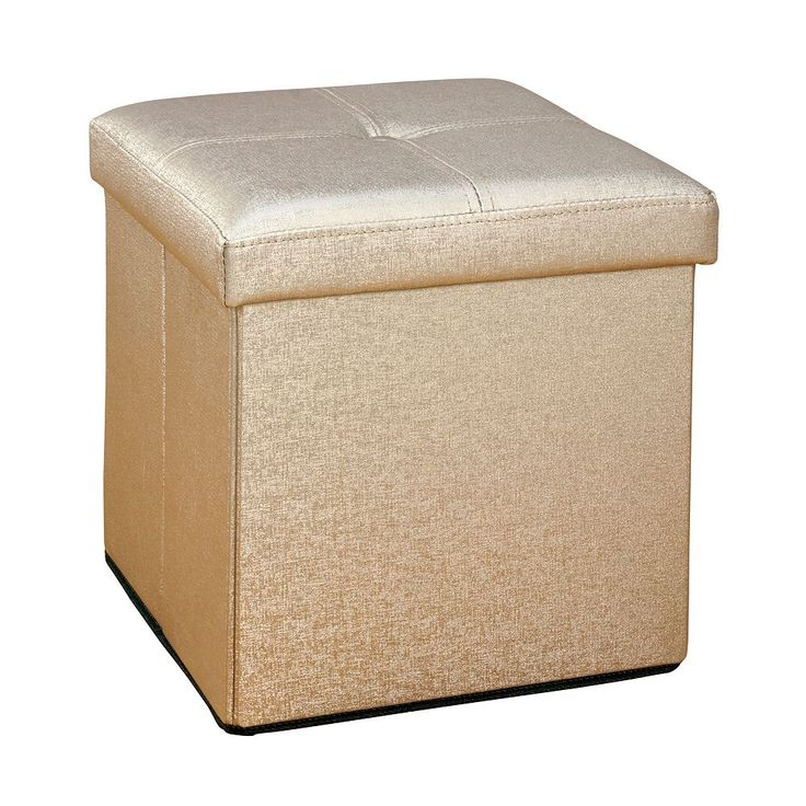 Nice Simplify Faux Leather Folding Storage Ottoman Cube, Brown