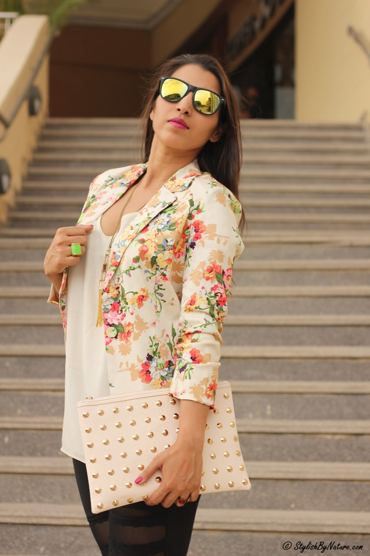 Floral Blazer and Mirror Sunglasses