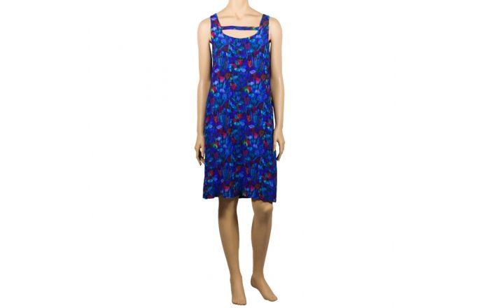 Vestido de rayón con estampado digital de tulipanes en colores azules #CompraOnLine #instintoBcn