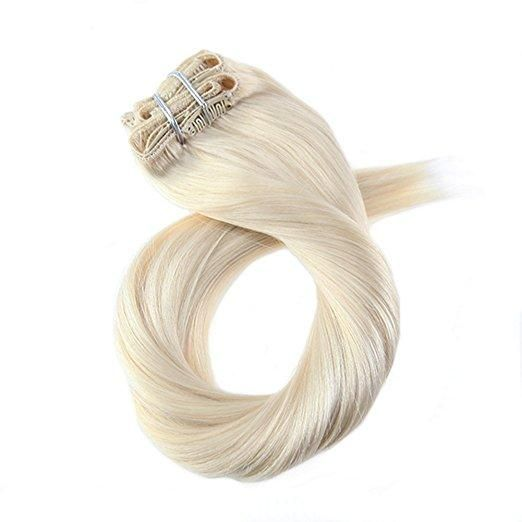 120g Clip In Platinum Blonde #60 Brazilian Remy Human Hair Extension(#60