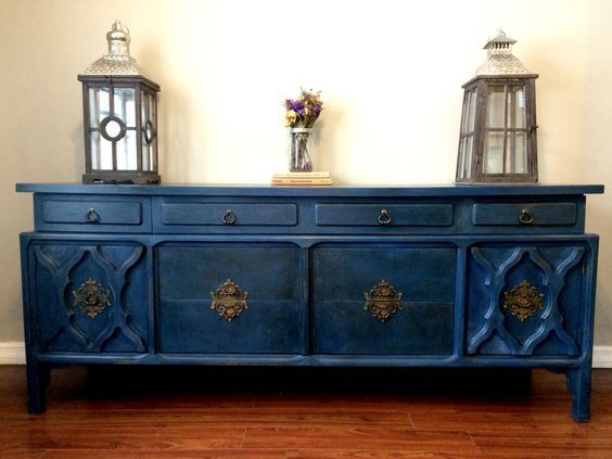 Beautiful buffet painted in Napoleonic Blue Chalk Paint® decorative paint by Annie Sloan | Project by The Graciebel Shop