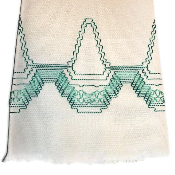 Kitchen Towel Swedish Weaving Huck Green Basket by CanDoStitching