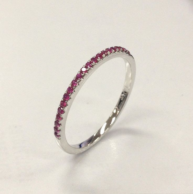 French Pave Ruby Wedding Band Half Eternity Anniversary Ring 14K White Gold - Lord of Gem Rings - 1