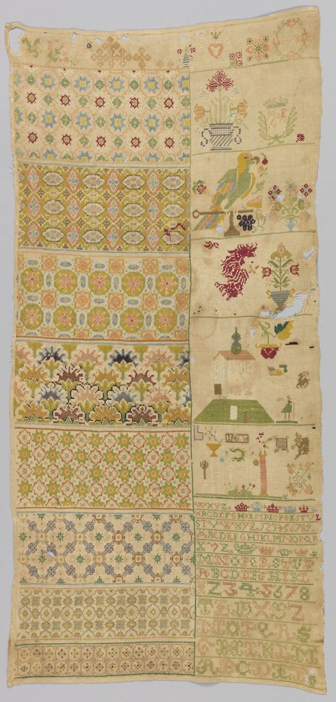 Germany -17th century. Embroidered in cross, eyelet and double running stitched on a plain weave foundation.