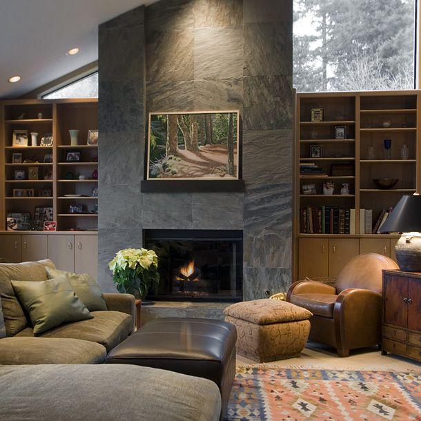 Stone Fireplace Crisp Architects: Soljaga Design Group