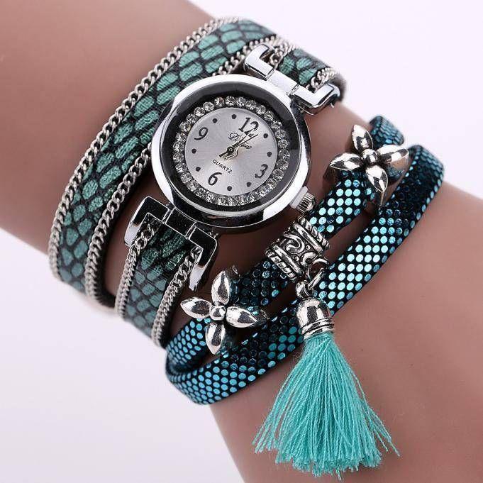 Retro bohemien armbanden horloge zilver met blauwe tijger print