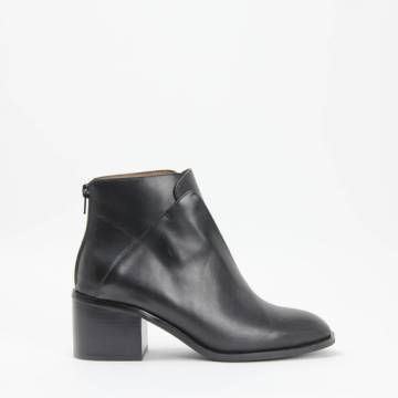 Jeffrey Campbell JERMAIN Heel Zip Ankle Boot Black Leather