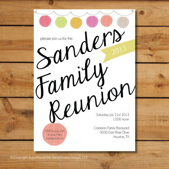 24 best Family Reunion images on Pinterest Family gatherings - best of invitation reunion template