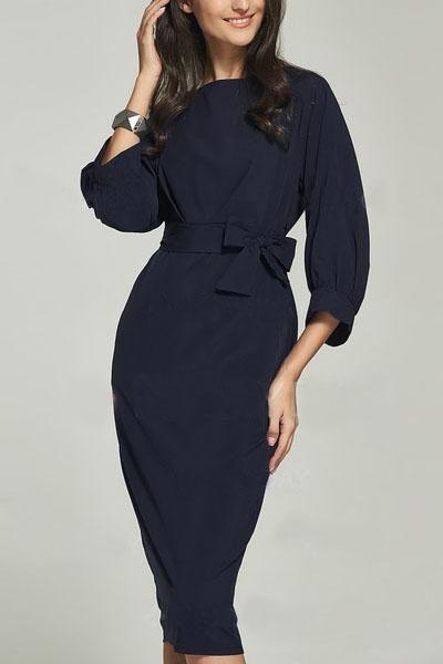 Navy Blue Puff Sleeve Belt Knee-Length Chiffon Pencil Dress modeshe.com