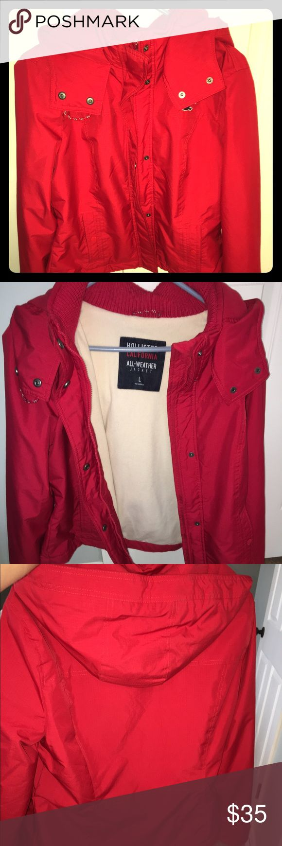 Red Women's/ Girls Hollister Coat Great condition, missing a button on the pocket to snap the pocket closed. Not noticeable at all Hollister Jackets & Coats Puffers