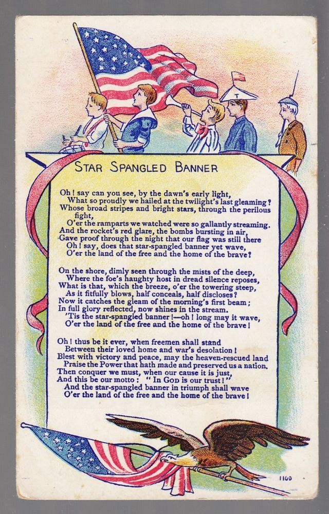 spangled banner star lyrics patriotic marching postcard