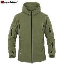 MAGCOMSEN Homens Velo Jaqueta Softshell Tático Militar Polartec Térmica Polar Jaqueta Com Capuz e Casaco de Roupas Masculinas AG-YCIDL-001