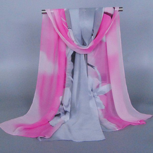 Chic Flower Pattern Two Color Match Chiffon Scarf For Women #CLICK! #clothing, #shoes, #jewelry, #women, #men, #hats, #watches