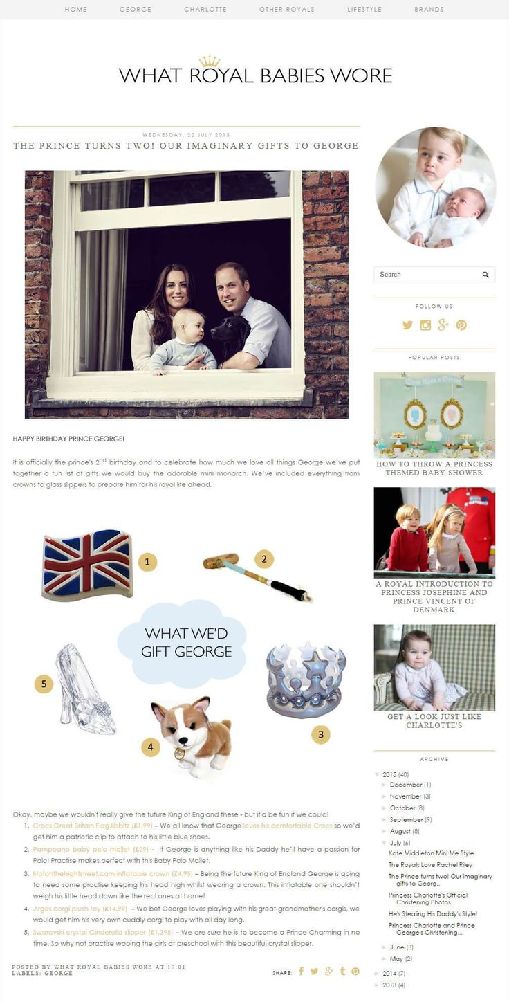 To celebrate Prince George's 2nd birthday, Whatroyalbabieswore.co.uk put together the ultimate birthday gift guide for the…