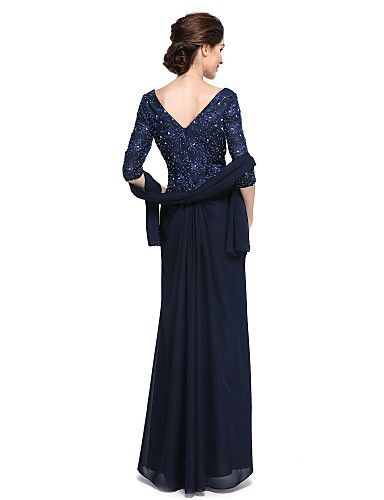 Футляр Платье для матери невесты - Элегантный стиль До щиколотки Рукав до локтя…
