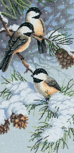 Dimensions Needlecrafts Counted Cross Stitch, Chickadees and Pinecones by Dimensions Needlecrafts, http://www.amazon.com/dp/B00114Q0IU/ref=cm_sw_r_pi_dp_AAKNrb1M7SCP3