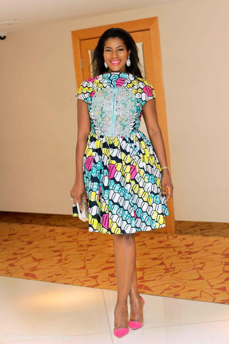 Stephanie Okereke-Linus stuns in a colorful vlisco ankara dress.  Watch her here: http://bit.ly/QFThe7 #aso-ebi