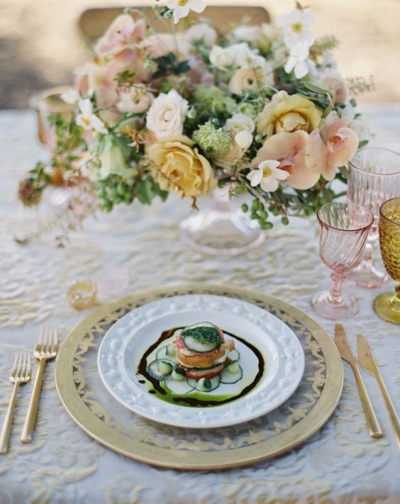 Gorgeous yellow, white and peach floral wedding reception centerpiece; Featured Photographer: Jose Villa