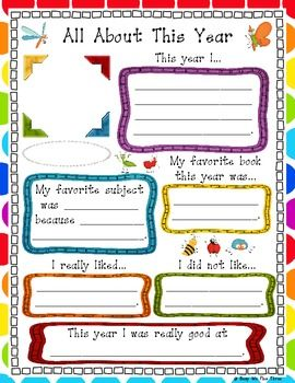 This is a brightly colored page for your students' memory book! It is all about this year in Kindergarten, First Grade, and Second Grade. I have ...