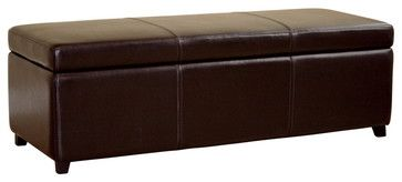 Baxton Studio Dark Brown Full Leather Storage Bench Ottoman with Stitching - Transitional - Ottomans And Cubes - Baxton Studio