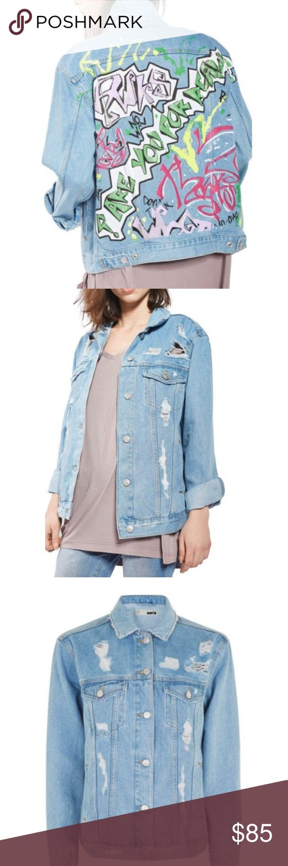 Topshop denim  jacket Cute Top shop graffiti jean jacket. Mid stone wash, front pockets, distressed 190% cotton. Oversized fit. New with tags from non smoking home Topshop Jackets & Coats