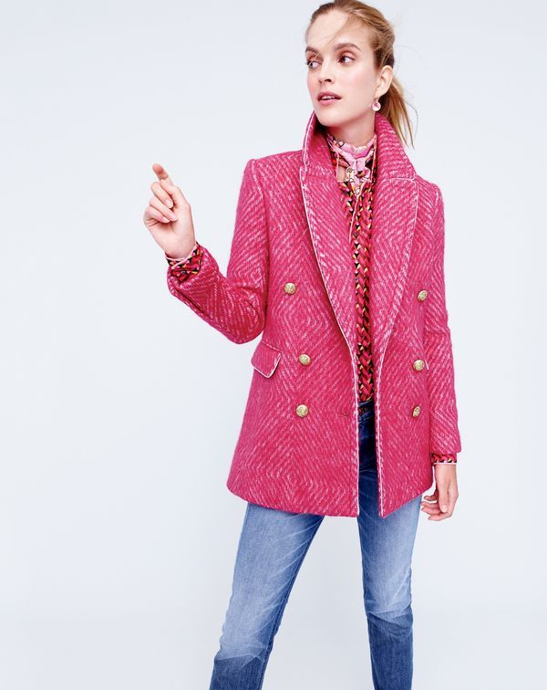 J.Crew women's diamond tweed coat in sorbet, Collection pajama top in Ratti® print, matchstick jean in Stockdale wash, crystal drop earrings in soft blossom and Drake's® for J.Crew long silk scarf in peony-guava multi.