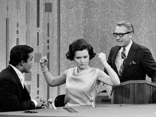 Password premiered in 1961. Host Allen Ludden met his wife, a young Betty White (pictured here), on the show.