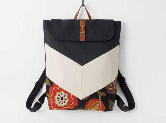 Blossom. Dark navy chevron canvas backpack / Laptop bag / diaper bag, Design by BagyBags