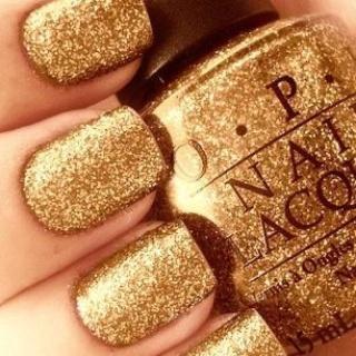 O.P.I glitter nail polish in gold