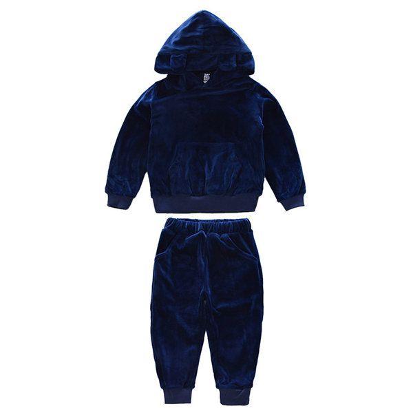2Pcs Boys Girls Kids Comfort Pants Set Velvet Cute Animal Ear Hooded Sport Clothing Set On Sale - NewChic