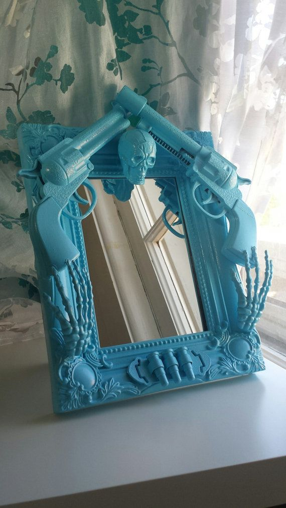 Blue skull and guns mirror by CheeseCrafty on Etsy