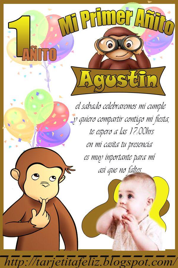 Tarjetas de cumpleaños: Invitacion de Jorge el Curioso