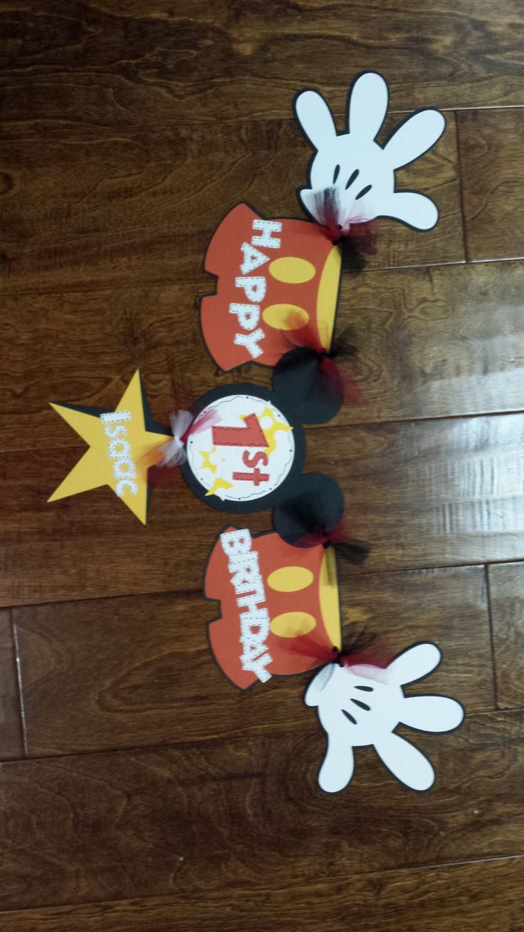 Mickey Mouse Birthday Highchair Banner with by 2hearts1love711, $15.00