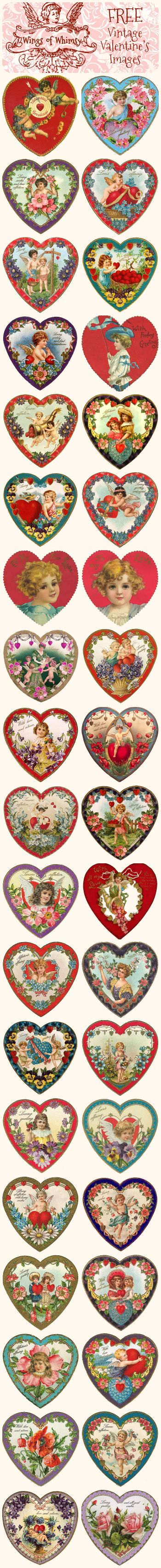 FRE printable vintage valentine's hearts | Wings of Whimsy
