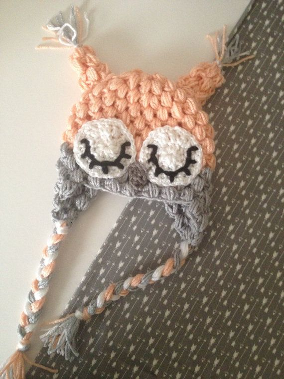 Peach Sleepy Owl Crochet Hat by Nooches on Etsy, $25.00
