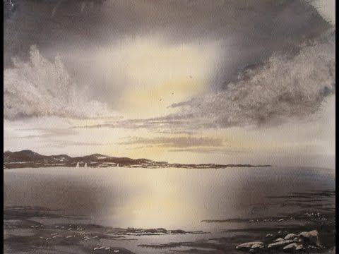 ▶ Simple way to create the impression of light reflecting off the sea - YouTube#watercolor jd