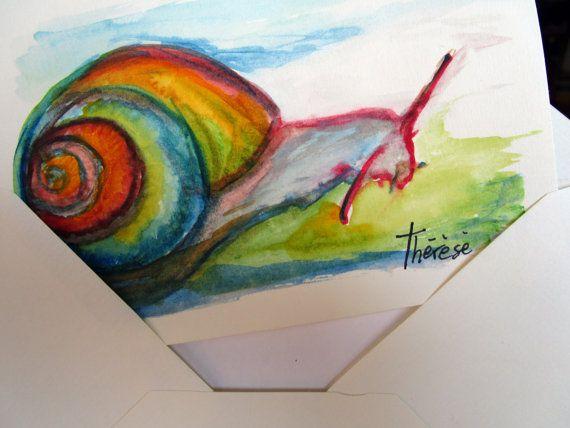 biglietto di auguri, dipinto a mano, acquerello, lumaca portafortuna, colore avorio, con busta, per ogni occasione, un pensiero speciale