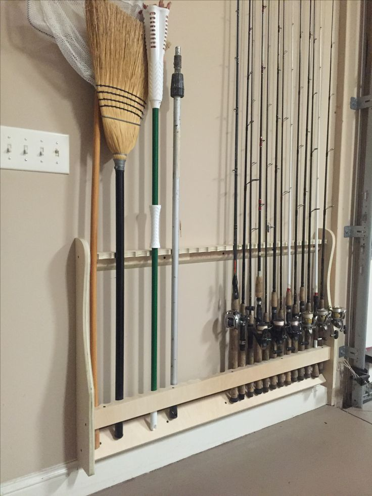 Wall mounted rod rack vertical get organized built by for Fishing rod rack