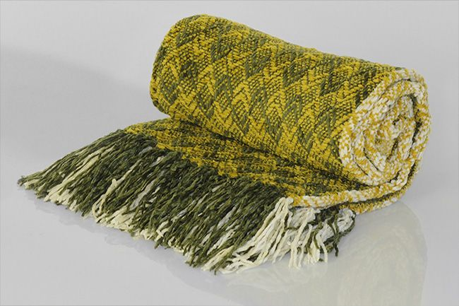Chenille Throw with frill diamond green yellow