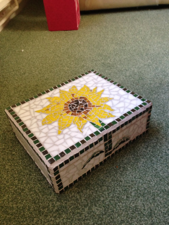 Handmade decorative mosaic sunflower keepsake box b