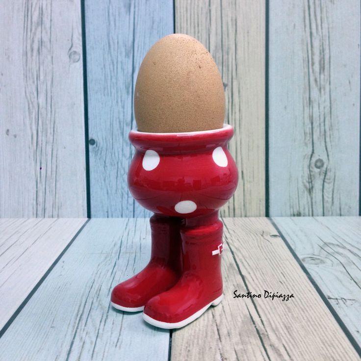 Red Egg Cup,  Spotty Egg Holder, Polka Dot Egg Server, Walking Pottery, Breakfast Table Ware, Novelty Egg Cups, Gift for Gardener, Quirky by WalkingPottery on Etsy